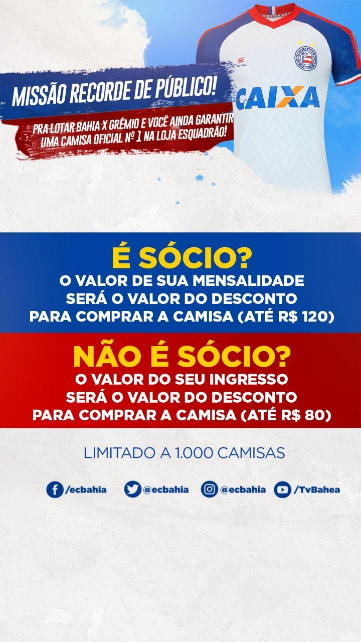 80ea77fa0f Promoção válida a partir de agora até Bahia x Grêmio, sujeita à  disponibilidade do estoque e sem possibilidade de troca posterior da camisa.  Bora!